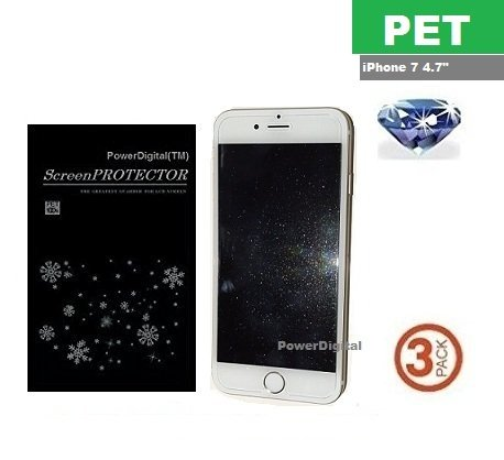 PowerDigital(TM) Diamond Sparkling Glitter Screen Protector for iPhone 8 iPhone 7 4.7 with Lint Cleaning Cloth (Retail Packaging, PET Material) - 3 Pack