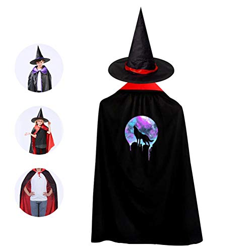 Kids Space Howl Halloween Costume Cloak for Children Girls Boys Cloak and Witch Wizard Hat for Boys Girls Red