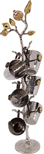 Yair Emanuel Set of 6 Liquor Cups of Hammered Metal on Pomegranate Branch - Branch Stand