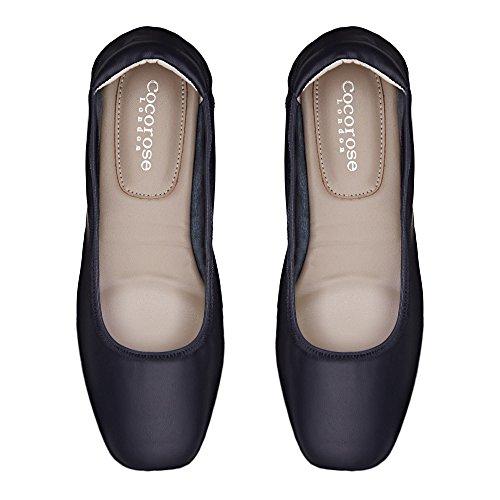 Mujer Barnes Ballerinas Zapatos Cuero Cocorose Plegables Navy zAwOF6qHqZ