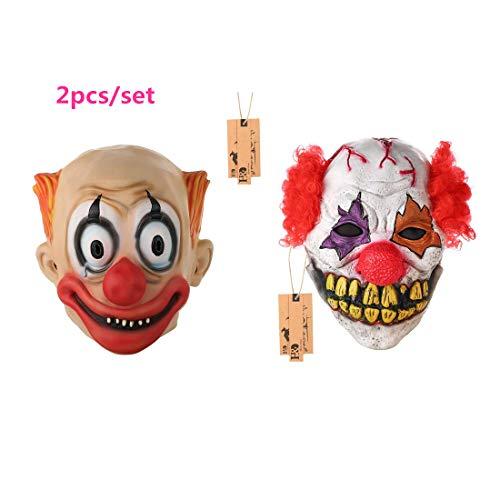 2pcs/set Halloween Horrific Demon Adult Scary Clown Cosplay Props Devil Flame Zombie Mask