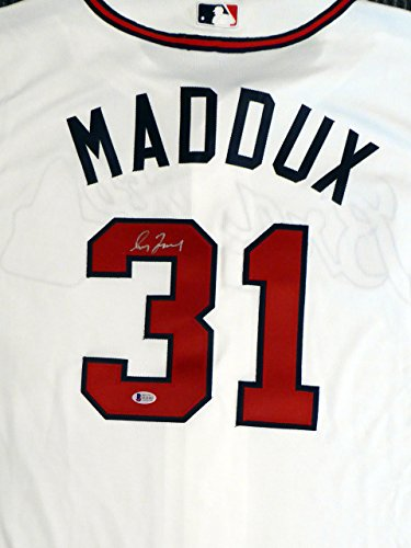 Atlanta Braves Greg Maddux Autographed White Authentic Majestic Cool Base Jersey Size 48 Beckett BAS #D18464