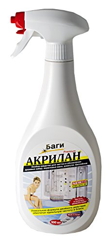 BAGI AKRILAN - foamy spray for the cleaning and renewing of the shower stalls, acrylic bath tubs, Jacuzzis, swimming pools, ceramic tiles, and more