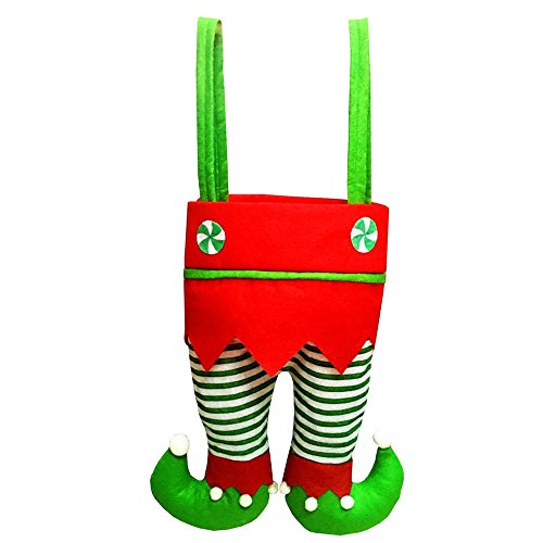 DIB Bags, Xmas Elf Pant Design Red Wine Beer Bottle Cover Candy Cookie Handbags, Hanging Ornaments Gift Treats Sack Stocking Filler for Xmas Tree Party Decorations (Green Stripe)