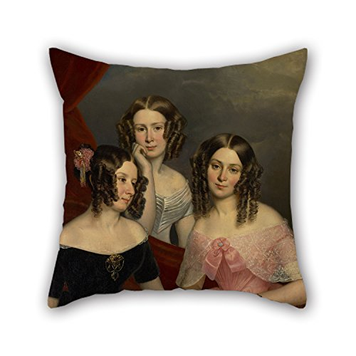 Pillowcover Of Oil Painting George Theodore Berthon - The Three Robinson Sisters,for Gril Friend,lover,living Room,father,gf,chair 16 X 16 Inches / 40 By 40 Cm(2 Sides)