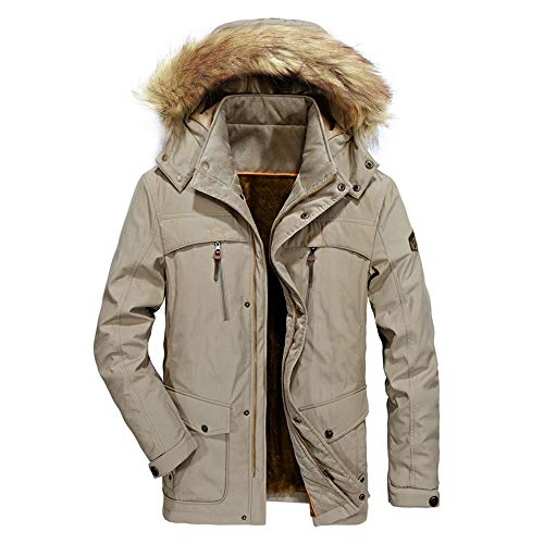 ZEFOTIM Mens Winter Medium Length Zipper Symmetrical Pocket Thickened Hoodie Cotton Coat(Medium,B-Khaki)