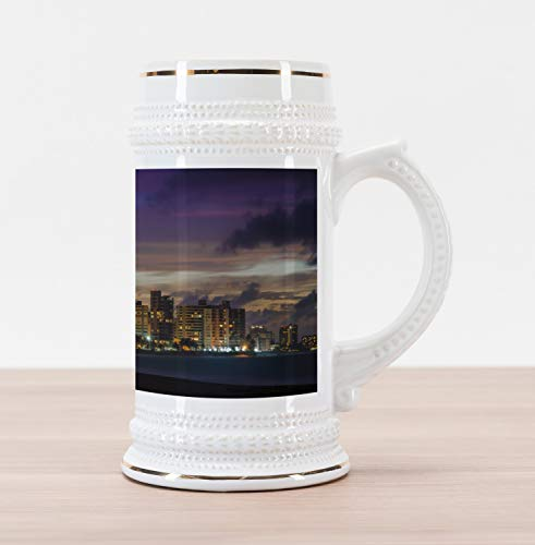 Ambesonne Puerto Rico Beer Stein Mug, Skyline Ocean Park Puerto Rico in the Evening Buildings Trees and Cloudy Sky, Traditional Style Decorative Printed Ceramic Large Beer Mug Stein, Multicolor