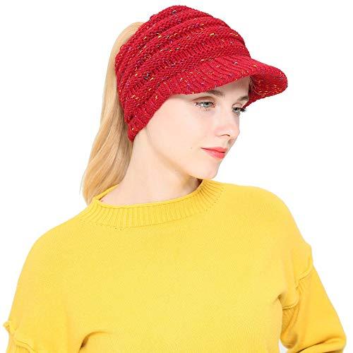 Teresamoon Women Men Autumn Winter Beanie Hat Knitting Wool Baseball Cap Earmuffs Hat -