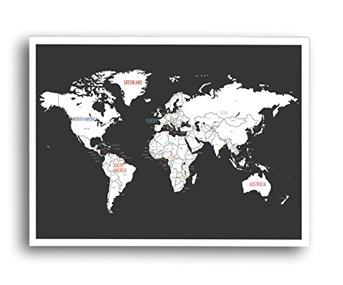 Kindred Sol Collective Personalized Travel World Map Wall Art (24 x 18 inch, Blue)- World Map Decor Makes A Great Gift for Travelers and ()