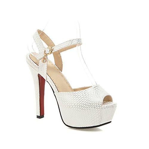 AllhqFashion Checkered Buckle Material White Peep Soft High Sandals Toe Women's Heels 7Xqwr7P
