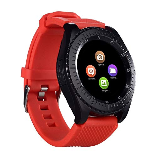 ker Smartwatch Digital Multifunction with Camera TF/SIM Card Slot, Pedometer, Calorie, Step Counter Sport Bracelet for Android iOS Phones Kids Men Women Long Battery Life (Red) ()