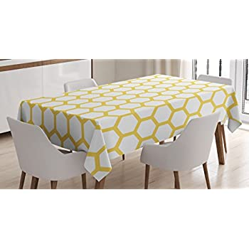 Yellow And White Tablecloth By Ambesonne, Hexagonal Pattern Honeycomb  Beehive Simplistic Geometrical Monochrome, Dining