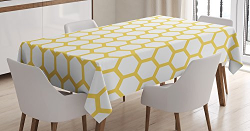 Ambesonne Yellow and White Tablecloth, Hexagonal Pattern Honeycomb Beehive Simplistic Geometrical Monochrome, Dining Room Kitchen Rectangular Table Cover, 52 W X 70 L Inches, Yellow White ()
