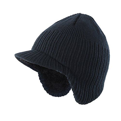 - Home Prefer Toddler Boys Winter Hat Fuzzy Rib Knitted Kids Hat with Visor Earflaps Hat Navy