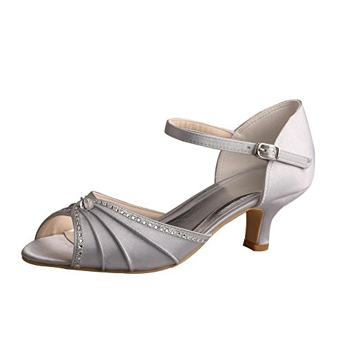 Wedopus MW033B Women's Peep Toe Mary Jane Low Heel Pleated Rhinestones Satin Wedding Prom Shoes Size 4 Silver ()