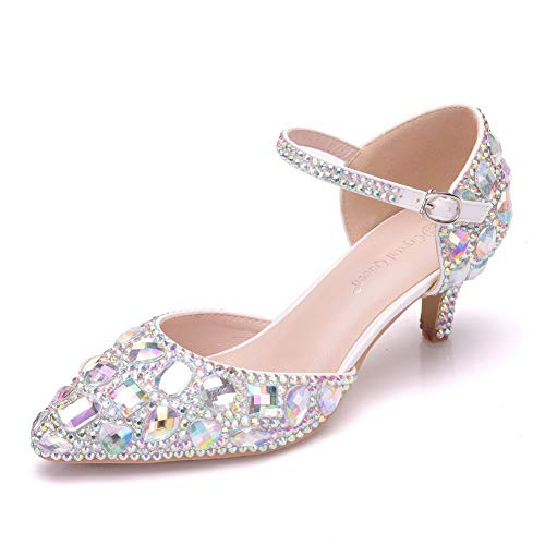 '2.15' Women Thick Heel Mary-Jane Sandals Middle Heel Wedding Shoes Bridal Prince Rhinestone Shoes (40 M EU / 8.5 B(M) US, Multicolor)