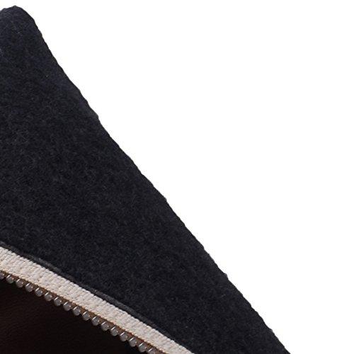 HooH Damen Halbschaft Stiefel Winter Matt High Heel Reißverschluss Knie hoch Stiefel Schwarz