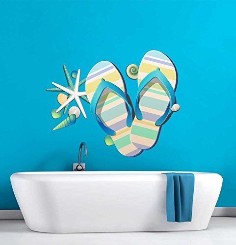 Tropical Retreat Relax Beach Flip Flops Wall Decal - 15