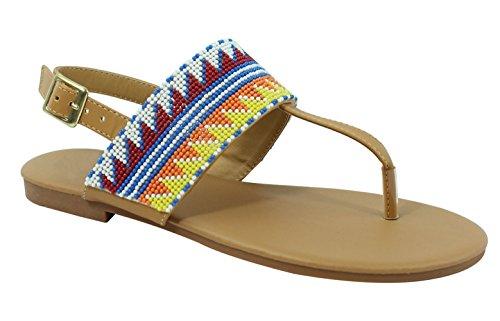 Top Beige Brown Roman Boho Open Toe Flat Heel Hippy Fitflop Slip On Casual Flat Multicolored Tribal Sandal with Bead Rosado Zapatilla Shoe Native American Thong for Sale Women Teen Girl (Size 8, (Heel Thong)