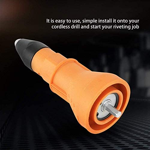 Zimaes Repair Metal Plastic Rivet Nut Gun Adapter Insert Nut Riveting Tool with Wrench & Nozzles 2.4mm, 3.2mm, 4mm, 4.8mm For Cordless Drill Orange Easier