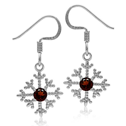 (Natural Garnet White Gold Plated 925 Sterling Silver Petite Snowflake Dangle Hook Earrings)