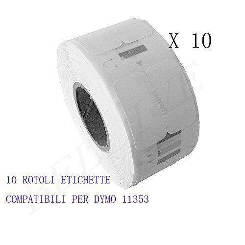 Twin Turbo 10 Rotoli Etichette adesive compatibile per DYMO 11353 S0722530 25mm X 13mm Dymo LabelWriter 450//450 Duo 450 Series 450 Twin Turbo//DUO//SE 450 450 Turbo