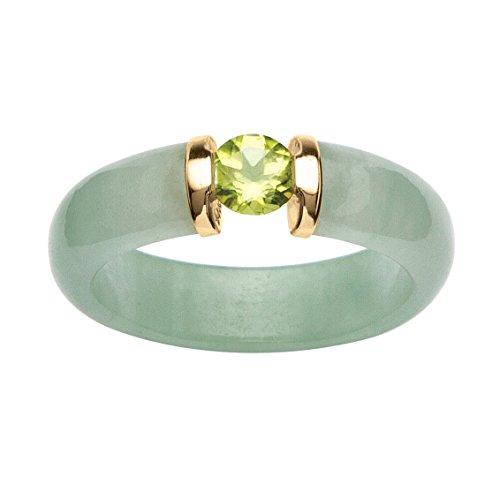 - Round Green Peridot and Genuine Jade 10k Yellow Gold Cabochon Ring