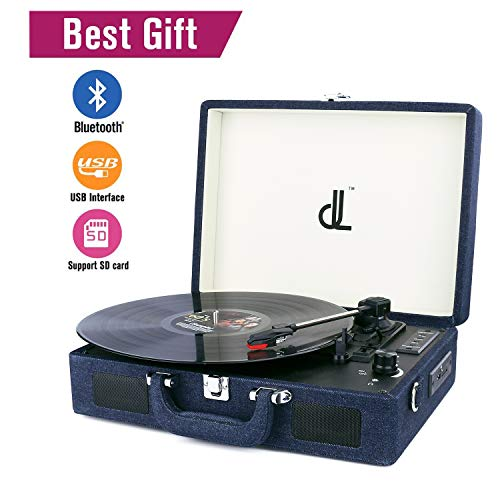 D&L Rechargeable Bluetooth Turntable Portable Phonograph Denim Cover Suitcase Record Player USB+SD Recorder&Headphone Jack&RCA line Out&Aux Input
