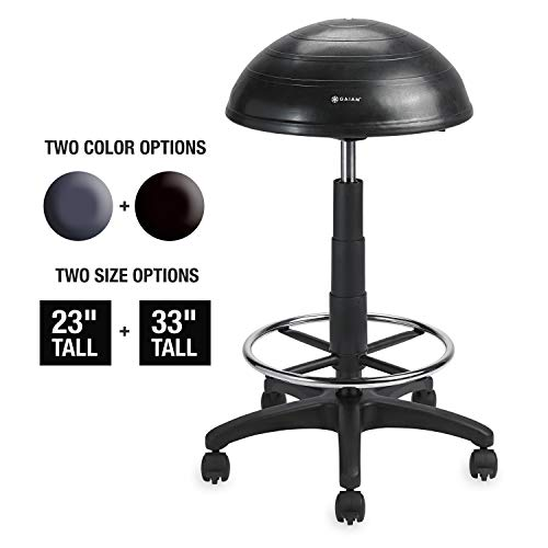 (Gaiam Balance Ball Chair Stool, Half-Dome Stability Ball Adjustable Tall Office Sit Stand Swivel Desk Chair Drafting Stool with Round Foot Rest for Standing Desks Home or Office - Black 33 )