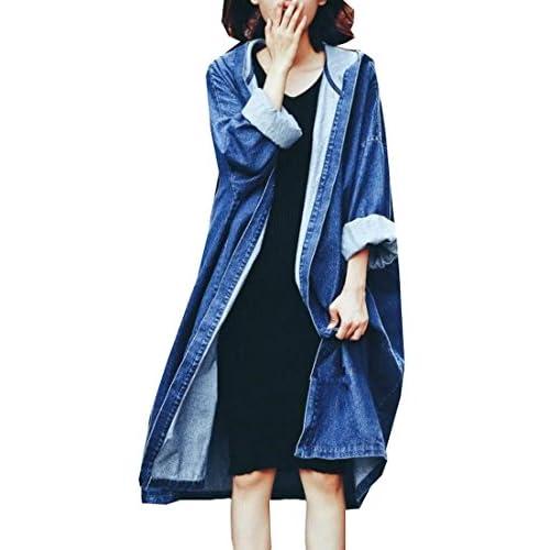 Wholesale Fulok Womens Loose Boyfriend Hoodie Denim Trench Jacket Coat supplier