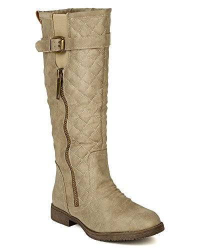 Nature Breeze Women Leatherette Quilted Strap Calf High Riding Boot BD74 - Sand (Size: 8.0)