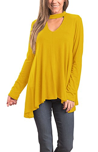 Floral Find Women's Tunic Tops Choker Long Sleeve V Neck Casual Loose Pullover Blouse (Small, Yellow)
