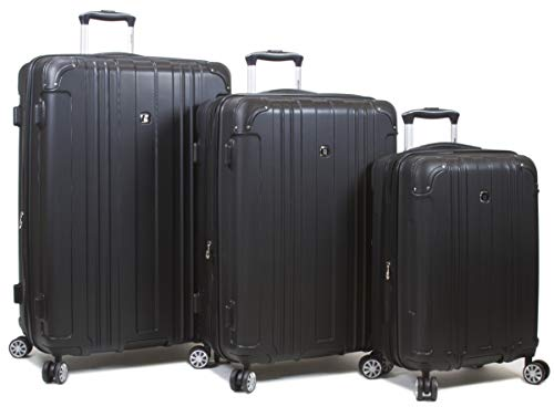 Dejuno 25DJ-668-BLACK Kingsley Hardside Spinner Luggage Set with TSA Lock44; Black – 3 Piece