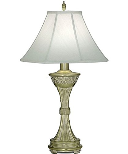 (Stiffel TL-A844-SBW One Light Table Lamp, Satin Brass/White Antique Finish with Off White Silk Shade)