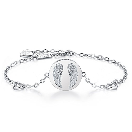 Billie Bijoux 925 Sterling Silver Women Angel Wings Charm Adjustable Bracelet White Gold Plated Best Gift for Graduation, Christmas, Mother's Day and Birthday by Billie Bijoux (Image #7)