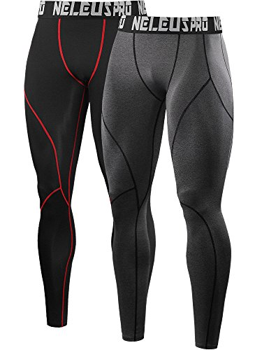 Neleus Men's 2 Pack Compression Sport Tights Pants,6013,Black (Red Stripe),Grey,US L,EU - Clothing Sports Us