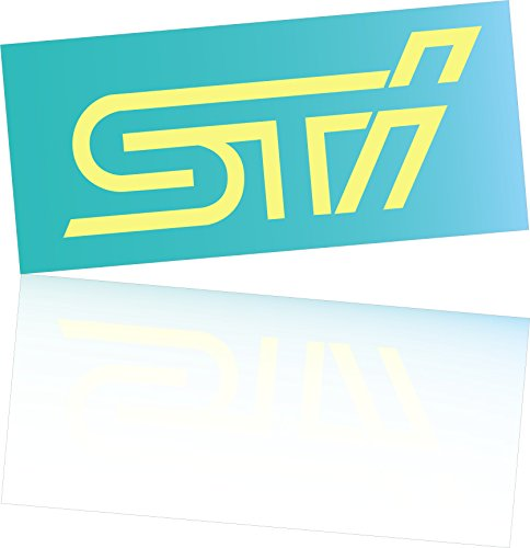 Vinyl sticker STI 10x4 cm logo for car laptop phone Subaru IMPREZA WRX WRC VINYL DECAL Die Cut No background pink (yellow)