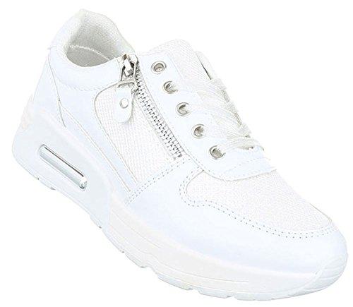 Damen Freizeitschuhe Schuhe Sportschuhe Turnschuhe Sneaker Laufschuhe Schwarz Pink Weiß 36 37 38 39 40 41 Weiß