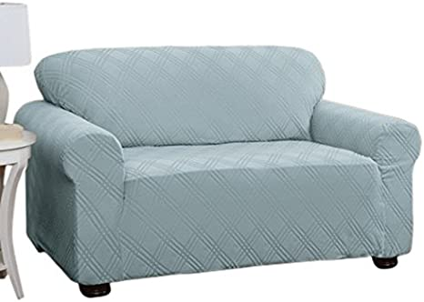 Stretch Sensations 849203014519 Double Diamond Stretch Loveseat Slipcover Spa Blue Home Kitchen