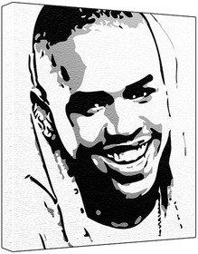 Chris Brown - Pop Art Print - 60 x 50 x 1.8 cm Deep Box
