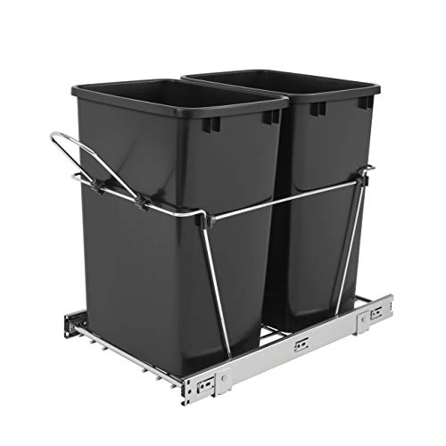 RevAShelf RV18KD18C S Double 35 Quart Sliding Pull Out Waste Bin Container