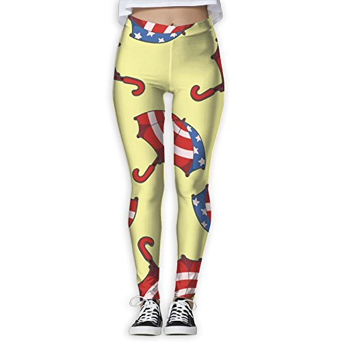Womens Outdoor Flag Of USA Umbrella Pattern Tie Yoga Jogger Pants Sweatpants