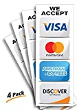 Credit Card Sticker Signs Stickers - 4 Pack 3'x8' Inch We Accept Visa, MasterCard, Amex & Discover, Premium Self-Adhesive Vinyl, Laminated, UV, Weather, Scratch, Water and Fade Resistance