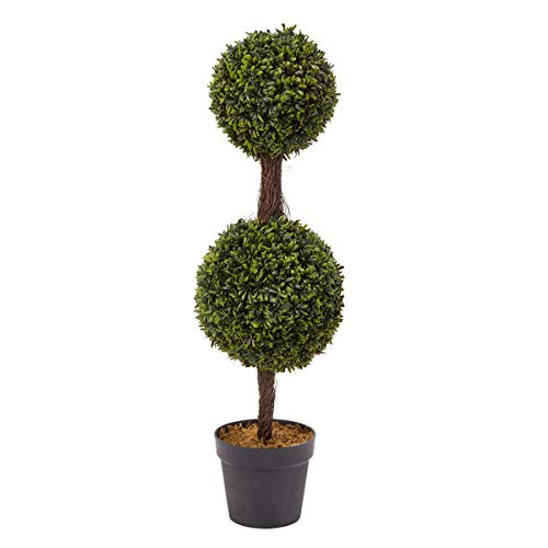 "Pure Garden Artificial Podocarpus-36"" Double Ball Style Faux Plant in Sturdy Realistic Indoor or Outdoor Potted Shrub-Home Décor"