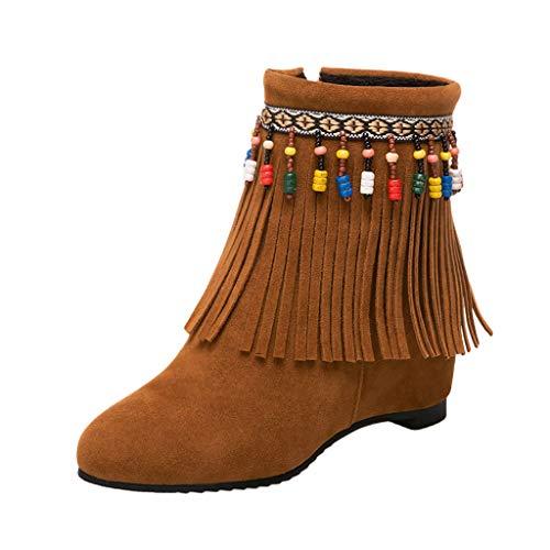 HYIRI Originals Side Zipper Short Boots,Women's Beaded Tassel Boots Ankle Boots Wild Shoes Boots -