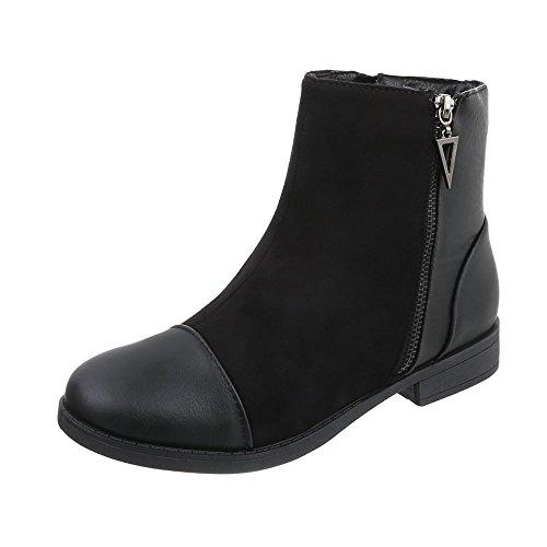 Ital-Design Klassische Stiefeletten Damenschuhe Schlupfstiefel Blockabsatz Blockabsatz Reißverschluss Stiefeletten Schwarz