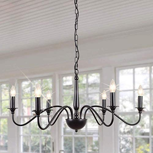 GOODYI 6-Light Farmhouse Chandelier,Rustic Industrial Iron Black Chandeliers Lighting