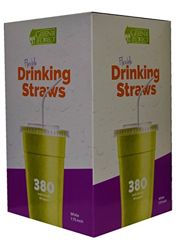 Price comparison product image Green Direct Flexible Plastic Drinking Straw 7.75 Inch White Individually Wrapped Pack of 380