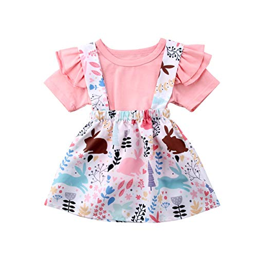 (Toddler Baby Girl Easter Clothes Skirt Set Ruffle Sleeves Top+ Rabbit Print Floral Suspender Skirt Tutu Dress Outfits (Pink, 6-12)