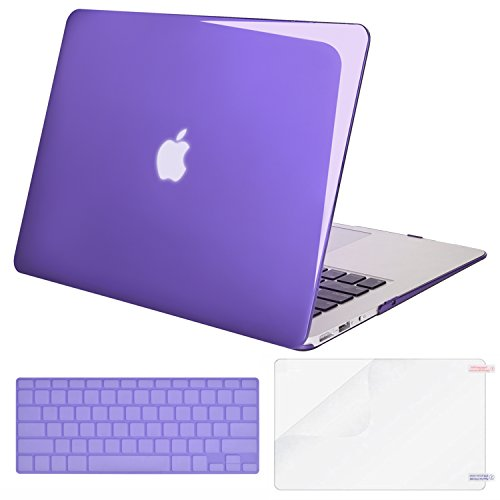 MOSISO Plastic Hard Shell Case & Keyboard Cover & Screen Protector Only Compatible with MacBook Air 13 Inch (Models: A1369 & A1466, Older Version 2010-2017 Release), Crystal Ultra Violet